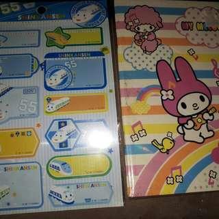 My Melody Notebook And Shinkanzen Sticker