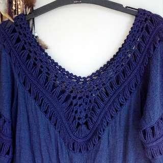 Navy Blue Crochet Top