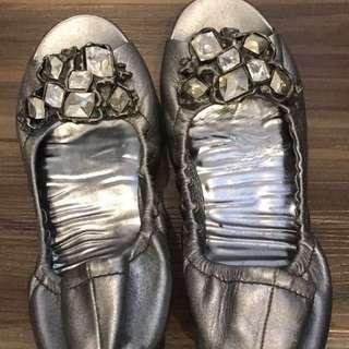 Miu Miu jewelled open toe flats (Silver)