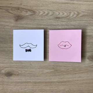 Hand Stitched Embellished Moustache & Lips Cards