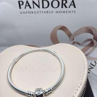 Authentic Pandora Sterling Silver Barrel Clasp Bracelet 590702HV-Multi Sizes