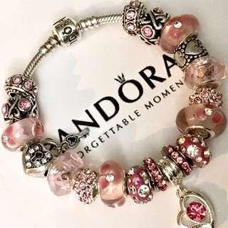 Authentic Pandora Sterling Silver Charm Bracelet Pink Love European Charms