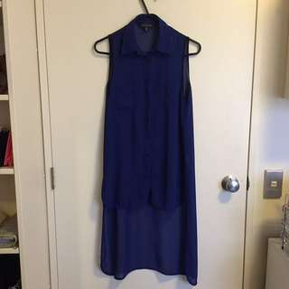 Sleeveless blue chiffon