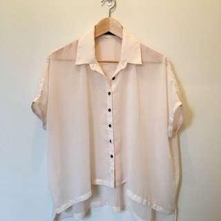 Sheer peach blouse
