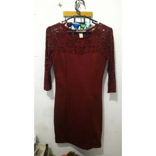 Maroon Lace Dress By Forever 21