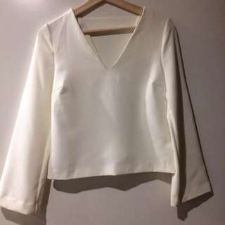 Witchery White Blouse With Wide Sleeve Size 4