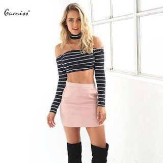 Long Sleeved Striped Crop Choker