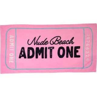 Typo pink beach towel nude beach admit one ticket
