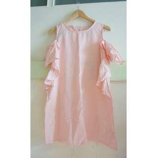 [二手] 粉紅 露肩膀 上衣 長版 荷葉