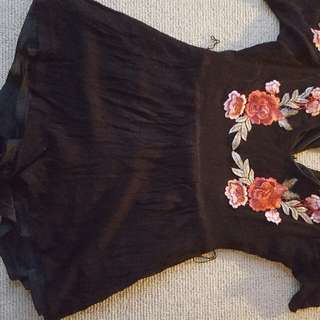 Rose Embroidered Playsuit Size 10