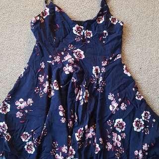 Navy Blue Floral Dress Size 10