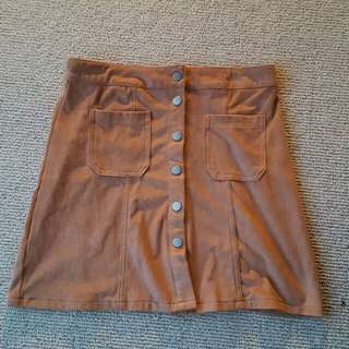 Skirt Size 10 Brown Suede