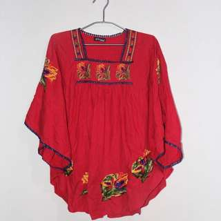 Red Embroidery / Bordir Top
