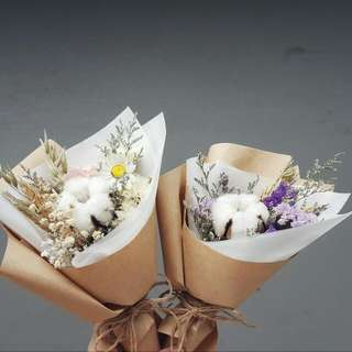 Mini Bouquet- Cotton Flowers , Purple Statice. Lavender.