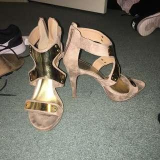 Beige Gold Heels