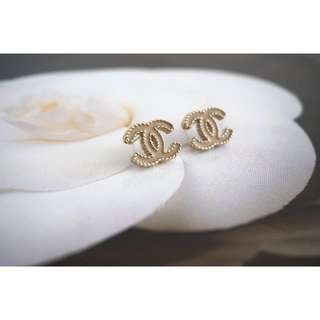 Authentic Chanel Earrings - beige and gold