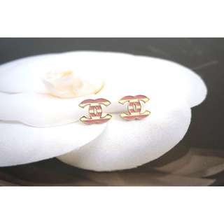 Authentic Chanel Earrings - pink and white