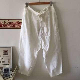 Antiquites ICHI 東炊染色鬆緊綁帶褲真白色(轉魚飛)