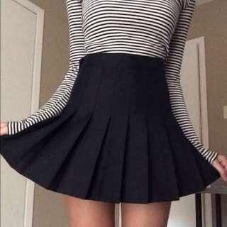 American Apparel inspired Black Pleated Tennis Skirt