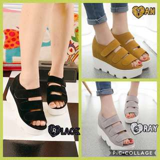KOREAN FASHION Front Strap Peep-Toe Suede Wedges