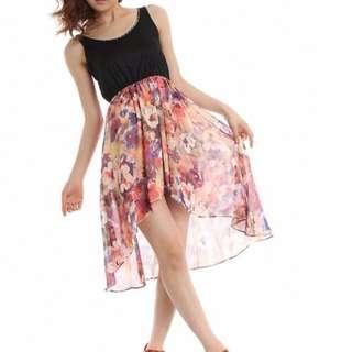 日本品牌INGNI領口鉚釘綴飾渲染花色雪紡洋裝