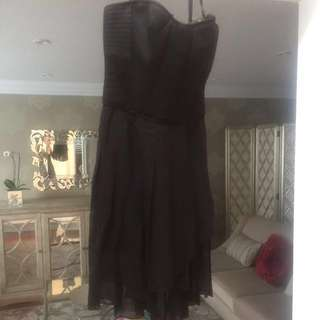 Bcbg black pleated dress size 2 LBD strapless tube dresa