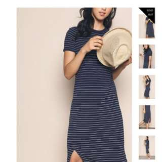 GENKA STRIPE KNIT MIDI DRESS NAVY