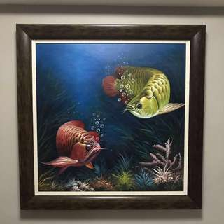 Oil Painting - Arowana Fishes