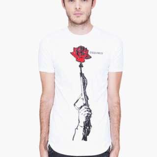 Dsquared men's gun & rose t shirt