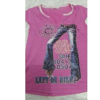 T Shirt Pink Sablon Jeans