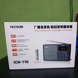 Brand New In Box Tecsun Icr 110 Portable Radio, Mp3, Recording Device/Player