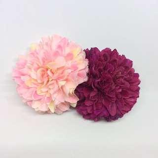 花朵髮夾 深紫x粉紅
