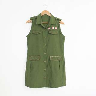 [RESERVED] #T99SALE Korean Fashion Style Olive Green Dallas Emblemed Vest Jacket Topper
