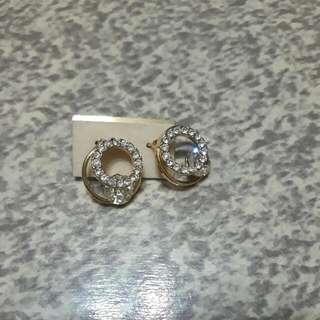 圓形水鑽耳環