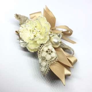 珍珠花朵蝴蝶結髮飾 5x10cm 手工商品 韓國帶回