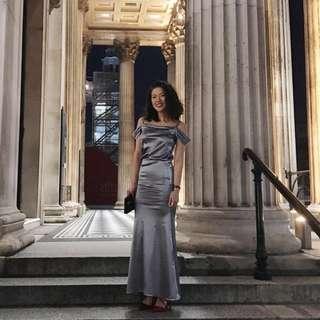 ASOS Silver Satin Maxi Dress