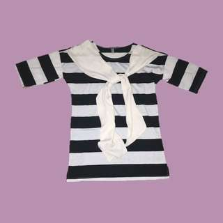 k style striped top with tie