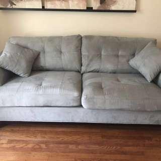 Cindy Crawford grey/blue couch