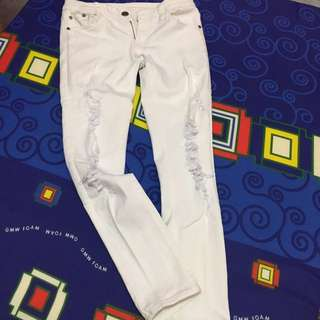 Sixty one White ripped jeans