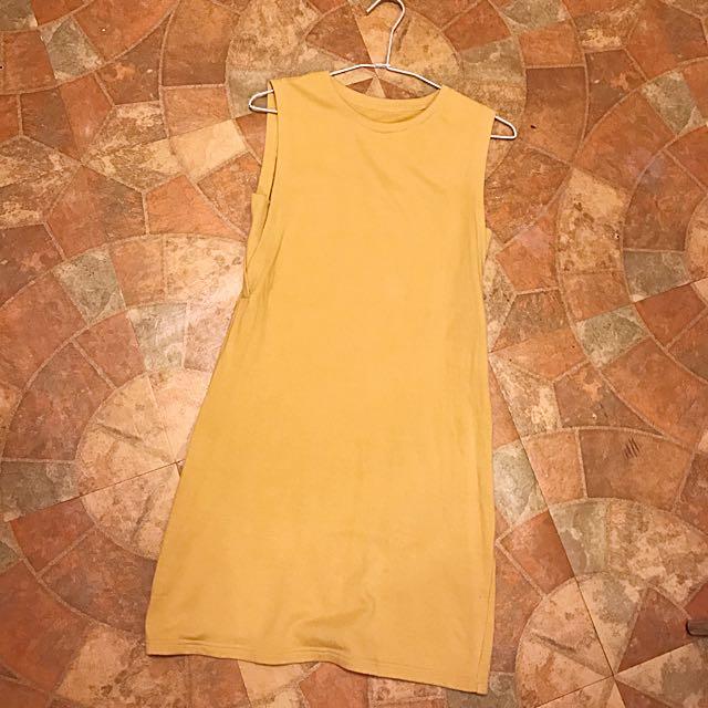 棉質無袖修身連衣裙