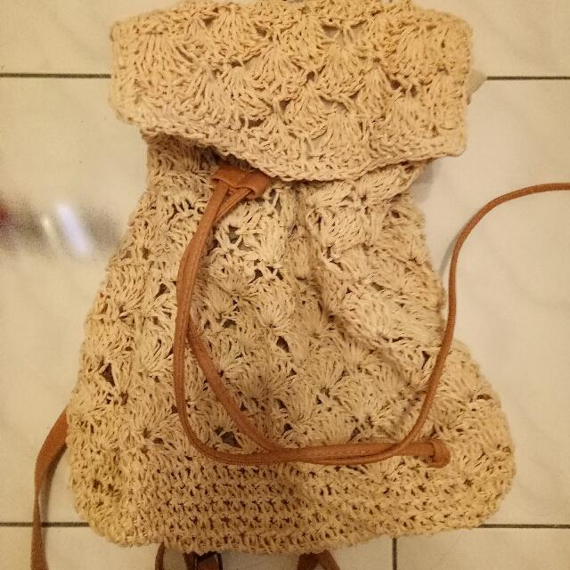 日本購入,可愛竹編後背包