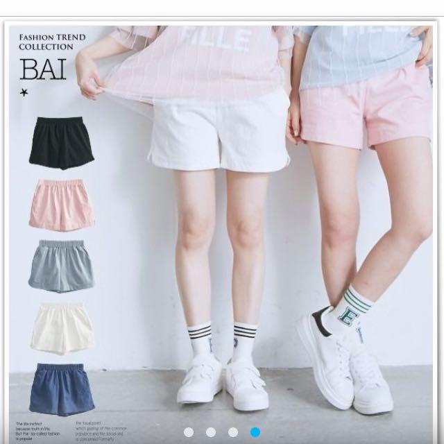 不規則直條紋車線短褲