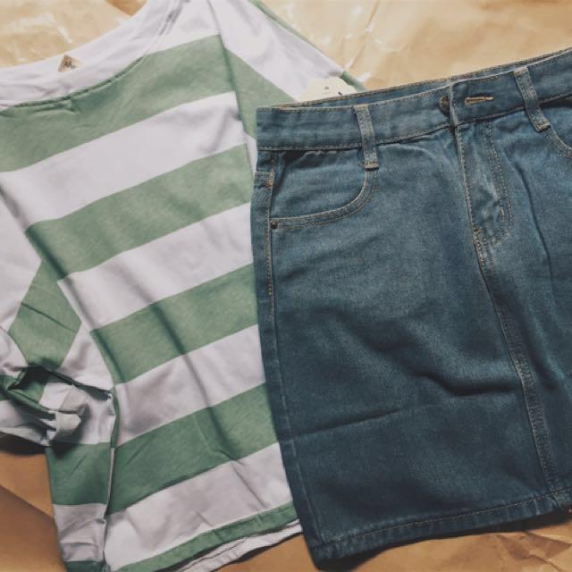 綠色條紋上衣+牛仔短裙