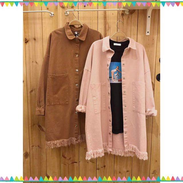 粉色 長版牛仔外套