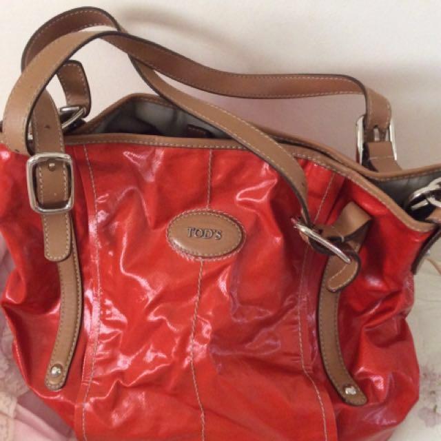 正品 TOD's 橘紅色防水手套肩背斜背包 G Bag