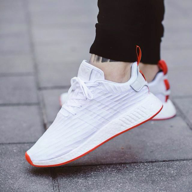 Adidas Nmd R2 White Red Men S Fashion Footwear On Carousell