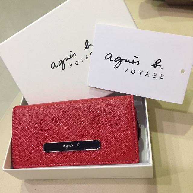 Agnes b 紅色質感鑰匙包(降價)