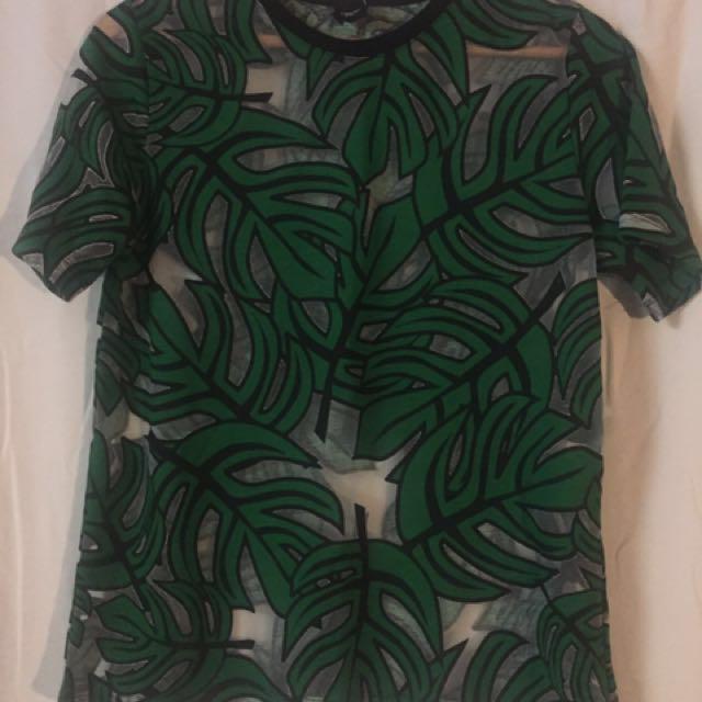 ASOS BNWT mesh palm leaf top