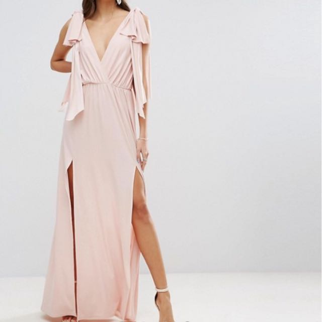 ASOS Grecian Bow Tie Shoulder Maxi Dress with Double Split