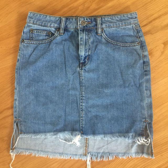Bardot Denim Skirt Raw Hem